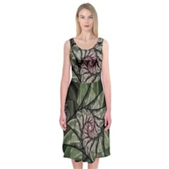 Fractal Flowers Floral Fractal Art Midi Sleeveless Dress