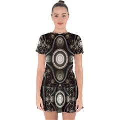 Fractal Beige Blue Abstract Drop Hem Mini Chiffon Dress