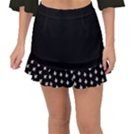 black Fishtail Mini Chiffon Skirt