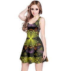 Fractal Multi Color Geometry Reversible Sleeveless Dress