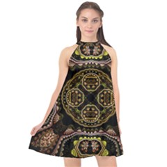 Fractal Fractal Art Texture Halter Neckline Chiffon Dress  by Pakrebo