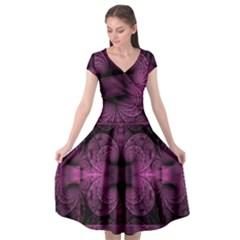 Fractal Magenta Pattern Geometry Cap Sleeve Wrap Front Dress