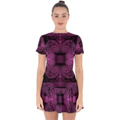 Fractal Magenta Pattern Geometry Drop Hem Mini Chiffon Dress