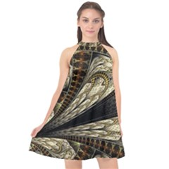 Fractal Abstract Pattern Spiritual Halter Neckline Chiffon Dress