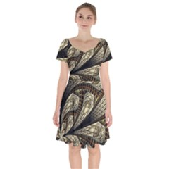 Fractal Abstract Pattern Spiritual Short Sleeve Bardot Dress