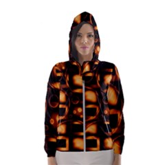 Bubbles Background Abstract Brown Women s Hooded Windbreaker by Pakrebo