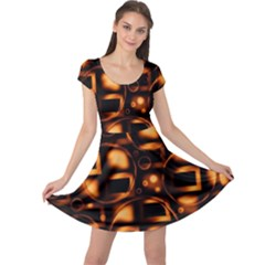Bubbles Background Abstract Brown Cap Sleeve Dress by Pakrebo