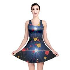 Technology Background Pattern Reversible Skater Dress by Pakrebo