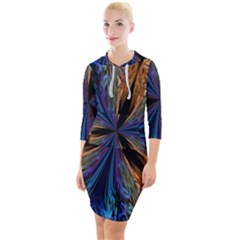 Abstract Background Kaleidoscope Quarter Sleeve Hood Bodycon Dress