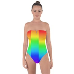 Rainbow Colour Bright Background Tie Back One Piece Swimsuit by Pakrebo