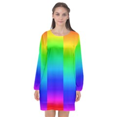 Rainbow Colour Bright Background Long Sleeve Chiffon Shift Dress