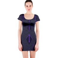 Futuristic Pyramids Perspective Short Sleeve Bodycon Dress