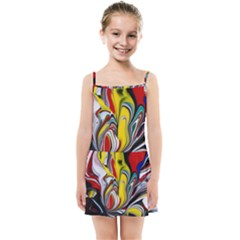 Abstract Colorful Illusion Kids  Summer Sun Dress
