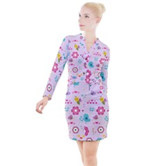 Birds Floral Flowers Retro Spring Button Long Sleeve Dress