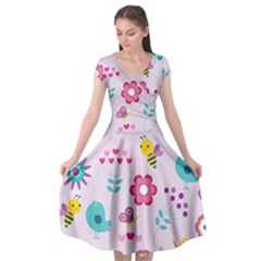 Birds Floral Flowers Retro Spring Cap Sleeve Wrap Front Dress