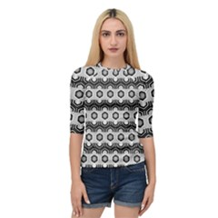 Pattern Abstractstyle Seamless Quarter Sleeve Raglan Tee