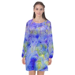 Abstract Blue Long Sleeve Chiffon Shift Dress