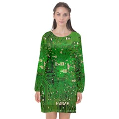 Background Green Board Business Long Sleeve Chiffon Shift Dress