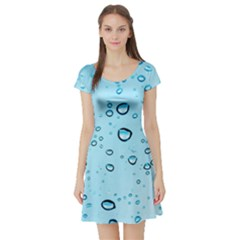 Drops Water Pane Rain Glass Short Sleeve Skater Dress