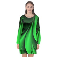 Green Line Lines Background Long Sleeve Chiffon Shift Dress