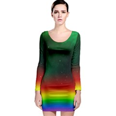 Galaxy Rainbow Universe Star Space Long Sleeve Bodycon Dress