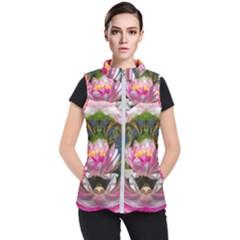 Flower Ornament Color Background Women s Puffer Vest by Pakrebo