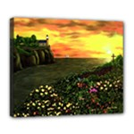 Eddie s Sunset  By Ave Hurley   Square (2) Eddie s Sunset By Ave Hurley   [stretched] Deluxe Canvas 24  x 20  (Stretched)