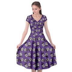 Daisy Purple Cap Sleeve Wrap Front Dress by snowwhitegirl