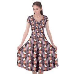 Pattern Abstract Fabric Wallpaper Cap Sleeve Wrap Front Dress