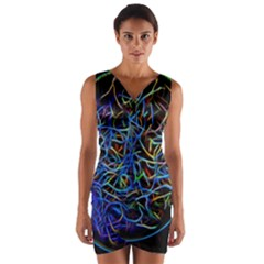 Neon Background Light Design Wrap Front Bodycon Dress by Pakrebo