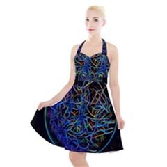 Neon Background Light Design Halter Party Swing Dress  by Pakrebo