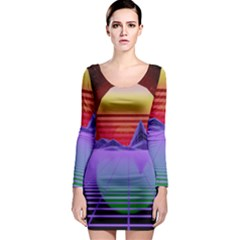 Synthwave Retrowave Synth Long Sleeve Bodycon Dress