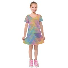 Triangle Pattern Mosaic Shape Kids  Short Sleeve Velvet Dress