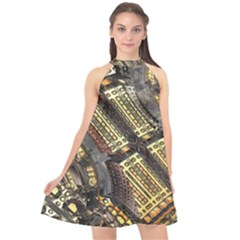 Render 3d Fractal Design Metal Halter Neckline Chiffon Dress