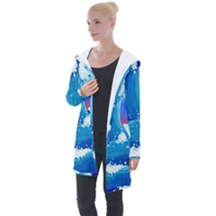 Japanese Wave Japanese Ocean Waves Longline Hooded Cardigan by Pakrebo
