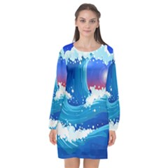 Japanese Wave Japanese Ocean Waves Long Sleeve Chiffon Shift Dress
