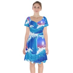 Japanese Wave Japanese Ocean Waves Short Sleeve Bardot Dress