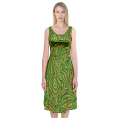 Background Abstract Green Seamless Midi Sleeveless Dress