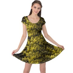 Rich Yellow Digital Abstract Cap Sleeve Dress