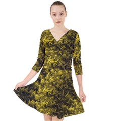 Rich Yellow Digital Abstract Quarter Sleeve Front Wrap Dress by Pakrebo