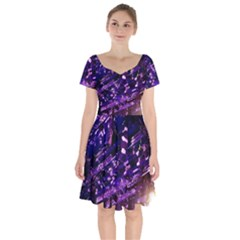 Light Violet Purple Technology Short Sleeve Bardot Dress by Pakrebo