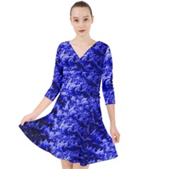 Rich Blue Digital Abstract Quarter Sleeve Front Wrap Dress by Pakrebo