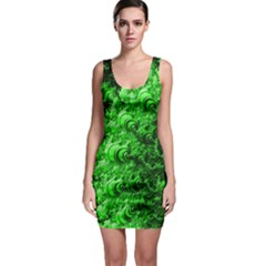 Green Abstract Fractal Background Bodycon Dress