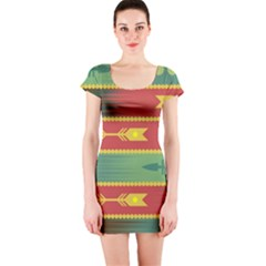 Background Non Seamless Pattern Short Sleeve Bodycon Dress