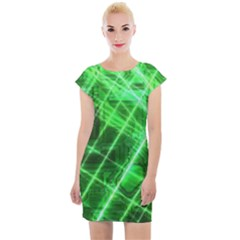 Futuristic Background Laser Green Cap Sleeve Bodycon Dress