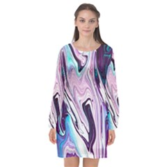 Color Acrylic Paint Art Painting Long Sleeve Chiffon Shift Dress