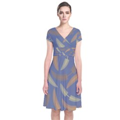 Background Non Seamless Pattern Short Sleeve Front Wrap Dress