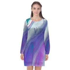 Color Acrylic Paint Art Painting Long Sleeve Chiffon Shift Dress  by Pakrebo