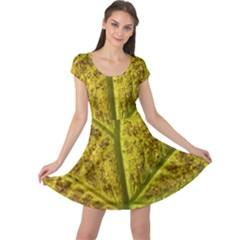 Leaf Structure Texture Background Cap Sleeve Dress