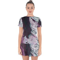 Color Acrylic Paint Art Painting Drop Hem Mini Chiffon Dress by Pakrebo